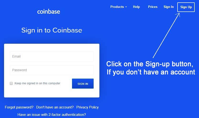 coinbase account login