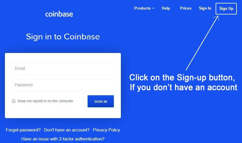 coinbase account login